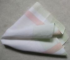Vintage Handkerchief MENS Hankie Top Pocket Square CREAM PINK GEOMETRIC COTTON