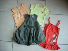 LOT 2 ROBES + 2 TEE-SHIRTS ORCHESTRA OBAIBI KIMBALOO BEBE FILLE 12 MOIS 1 AN TBE