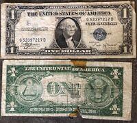 USA 1 Dollar 1935 B Silver Certificate Blue Seal Schein 1 US $ Banknote aus Lot