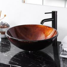 Artistic Bathroom Round Tempered Glass Vanity Basin Above Counter Top Sink Bowl
