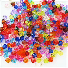 400Pcs Mixed Plastic Acrylic Clear Faceted Cone Charms Spacer Beads 4mm
