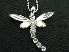 New Dragonfly Pendant Necklace Austrian Crystal Women Clear Dangle Tail