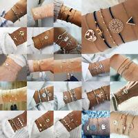 Elegant Women Jewelry Set Rope Bangle Stone Crystal Chain Alloy Beads Bracelets