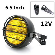 "6.5"" 12V 35W Yellow Retro Motorcycle Headlight Grill Side Mount Cover W/Bracket"