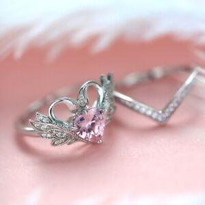 Elegant 925 Silver Heart Rings for Women Pink Sapphire Wedding Swan Jewelry Gift
