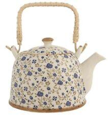 Clayre & Eef Teekanne Streublümchen Teepott blau 0,8 l Keramik mit Sieb 51757