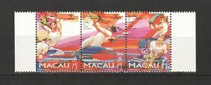 MACAU MACAO 1997 DRUNKEN DRAGON FESTIVAL STRIP OF 3 STAMPS SC#876a IN MINT MNH