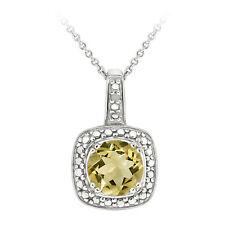 """925 Silver 1.85ct Citrine & Diamond Accent Square Pendant, 18"""""""