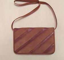 vtg 60's Clemente cognac brown leather suede and snakeskin shoudler clutch bag