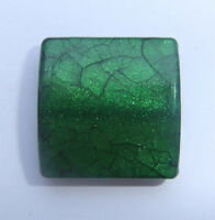 10 x Sparkly Green Acrylic Crackle Beads - 21.5mm x 20.5mm