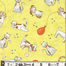 Henry Glass HAPPY TOWN Cats Dogs Yellow Fabric 1/2 yard by Jacquelynne Steves