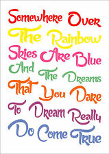 Somewhere Over The Rainbow Nursery Art Word Lyrics Typography Inspiring Quote