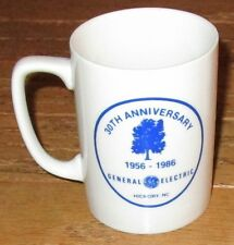 LOT 4 GENERAL ELECTRIC COFFEE MUGS~GE Hickory NC 30th Anniversary White Cup 1986