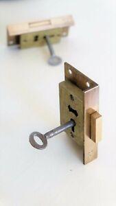 "SECURE 4 LEVER Brass Cut Cupboard Cabinet Door LOCK 3"" x 1 11/16"""