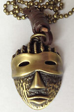 "Bronze plate Mask pendant 40mm with leather & 22"" bronze colour ball chain N0457"