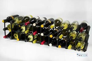 Cranville wine rack storage 20/30 bottle black stain wood/black metal assembled