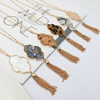 Abalone Shell Quatrefoil Moroccan Pendant Long Necklace with bMetal Tassel