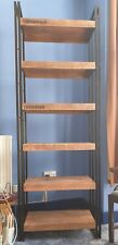 Reclaimed Mango Wood Iron Frame Open Shelf Tall Bookcase Industrial Style