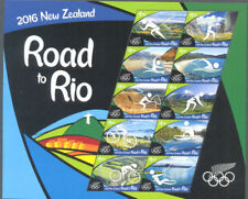 NUOVA Zelanda-La strada per Rio OLIMPIADI 2016 Gomma integra, non linguellato Foglio