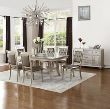 Formal Tufted Silver Finish Side Chairs 7pc Dining Set Table w Glass insert Top