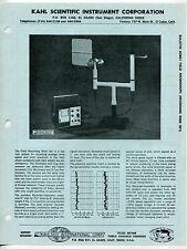 Vintage KAHLSICO Sales Sheet: FIELD ANEMOGRAPH (RECORDING WIND SET)