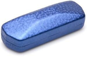 NEW Nice Clam Shell Hard Blue Eyeglasses Glasses Case w/ Cleaning Cloth