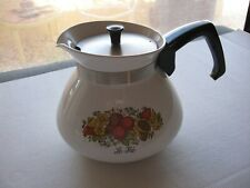 CorningWare 6 cup Tea Pot `Spice of Life` with metal lid P-104 Clean