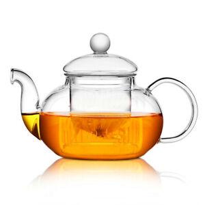 400ml Heat Resistant Glass Teapot with Strainer Filter Infuser Tea Pot Kettle UK