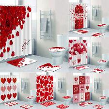 Valentine's Day Bathroom Waterproof Shower Curtain Toilet Lid Cover Bath Mat Set