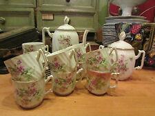ancien service a café porcelaine de  limoges tasse cafetiere sucrier fleurs