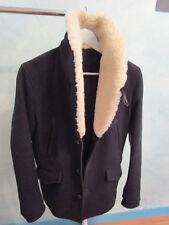 Veste Caban Noir Laine/Col Mouton SANDRO HOMME Black Wool/Lamb Fur Caban - S