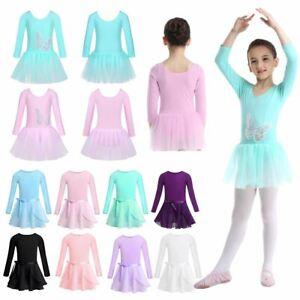 Kids Girls Cotton Ballet Dance Tutu Dress Gymnastics Leotard Princess Dancewear