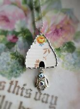 Vintage Recycled Broken China~Sweet Bee Hive~Roses~Pendant~Apiary~Jeweled Bee~