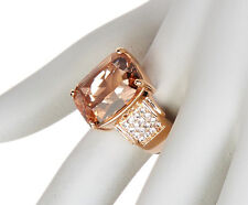 NWT Savvy Cie 14K Rose Gold Vermeil 10 ctw Morganite & Crystal Statement Ring