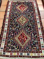 Persian Hand Knotted Ardabil Kazak 4'X7' Caucasian Soumak Kilim/Rug Navy perfec