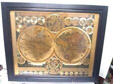 Gold foil old world map 19x23 framed