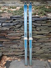 "VINTAGE  Wooden 62"" Skis Has BLUE Wood Finish Signed NORTHLAND"