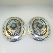 Oval Southwest Design Earrings Sterling Silver Large Turquoise