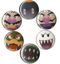 Super Mario Bros Villains: Set of 6 Buttons-Pins-Badges |Party Supplies|Nintendo