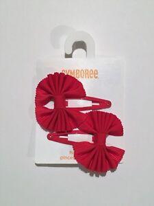 Gymboree FRIENDSHIP CAMP Fuchsia Ribbon Hair Clips ~ NWT!