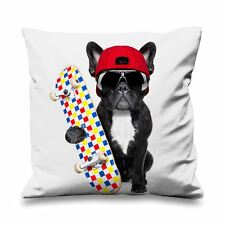 French Bulldog Skateboarder Faux Silk 45cm x 45cm Sofa Cushion