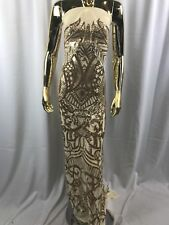 Embroider Sequins Fabric Gold 4 Way Stretch Power Mesh Fashion Dress By Yard