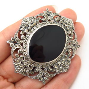 925 Sterling Silver Real Black Onyx & Marcasite Gem Art-Deco-Style Pin Brooch
