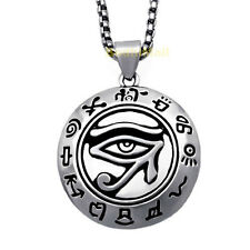 Egyptian Eye of Ra Horus Pendant with Stainless Steel Necklace