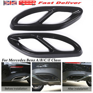 2PCS Exhaust Muffler Tips Tail Pipe Cover Trim For Mercedes Benz A/B/C/E Class
