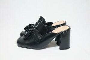 TONY BIANCO Size 7 Womens Leather Black Tassel Detail Square Toe Block Half Shoe