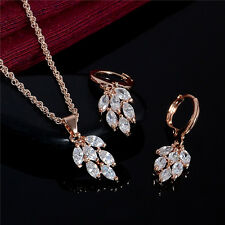 18K Rose Gold Plated CLEAR Crystal Pendant Necklace Drop Earrings Jewelry Set UK