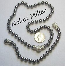 "NOLAN MILLER Glass ""Pearls of Wisdom"" Necklace/Bracelet Set,Silver Gray,Crystals"