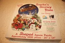 "Lori Schory 1000 Pc. Shaped ""Santa's Snowy Ride"" Jigsaw Puzzle SunsOut Complete"