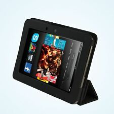 PU Cuoio Libro Custodia Cover con supporto per Kindle Fire HD 7 pollici Tablet-Nero